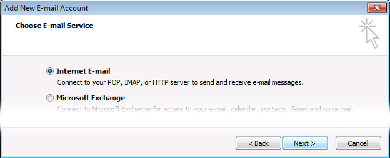 Select Internet E-mail, click Next