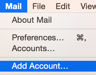 Click Mail, select Add Account