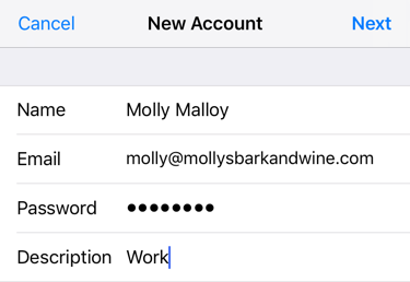 Enter account details and tap next