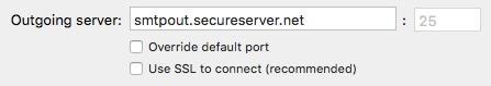 Enter outgoing server: smtpout.secureserver.net
