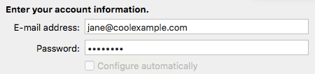 Click +, select Other Email