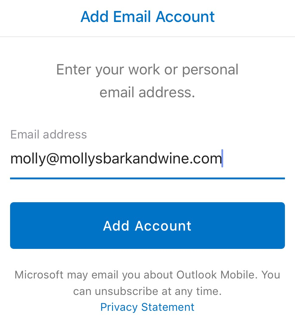 Type email address, tap Add Account
