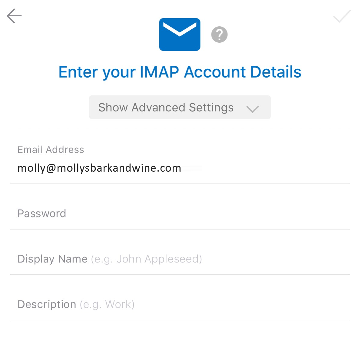 Type in email details
