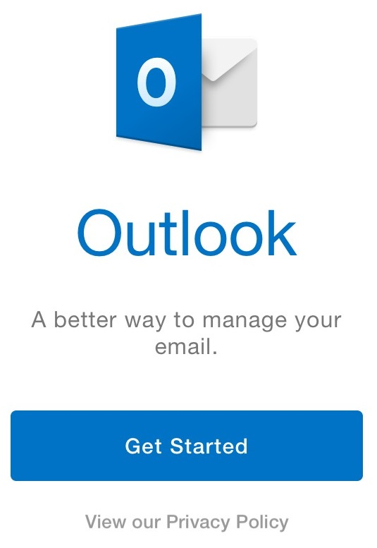 Click Get Started in Outlook app.