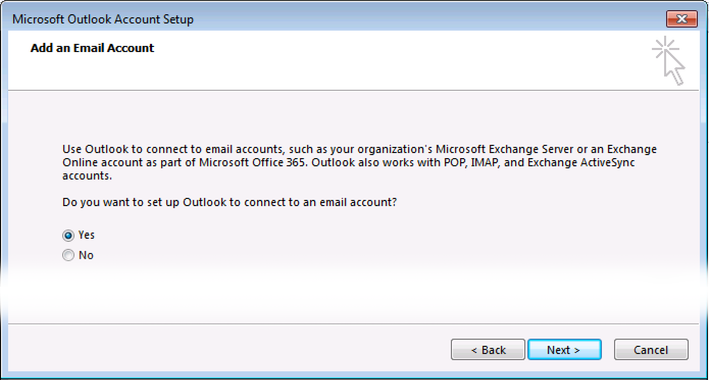 Add email account screen