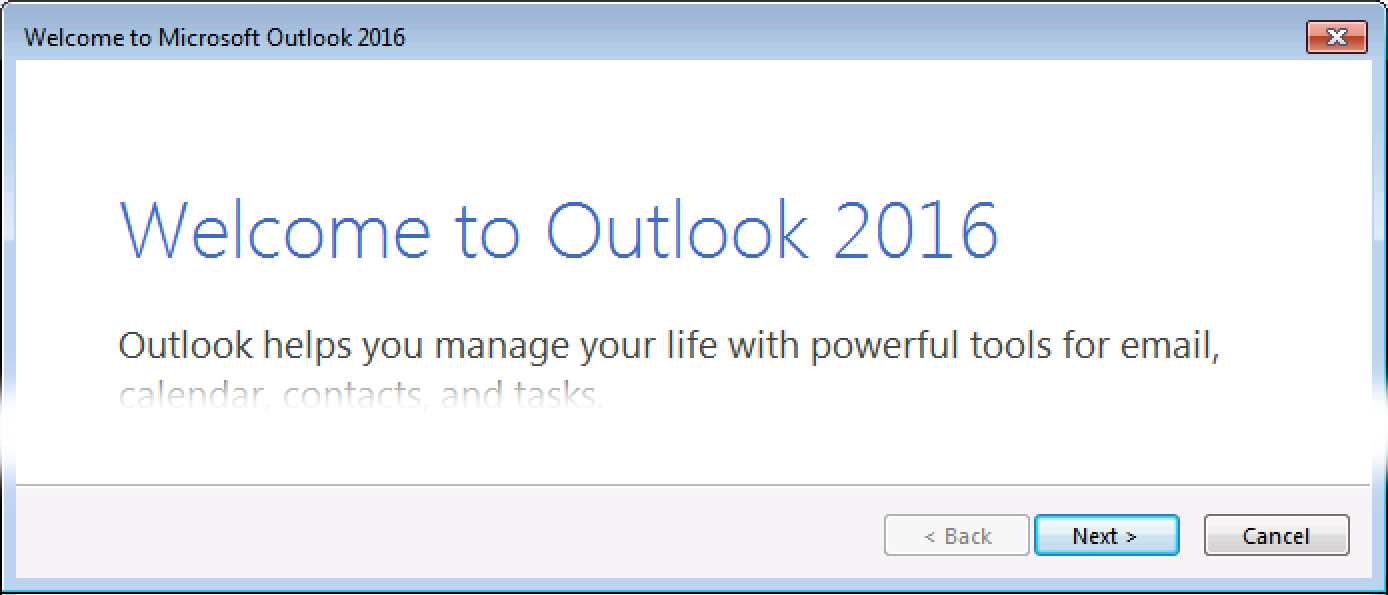 Outlook 2016 intro screen