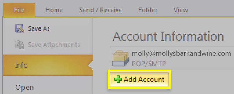 Click Add Account