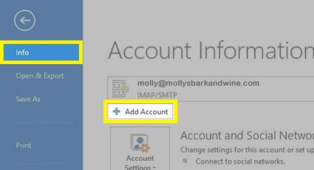 Under Info, click Add Account